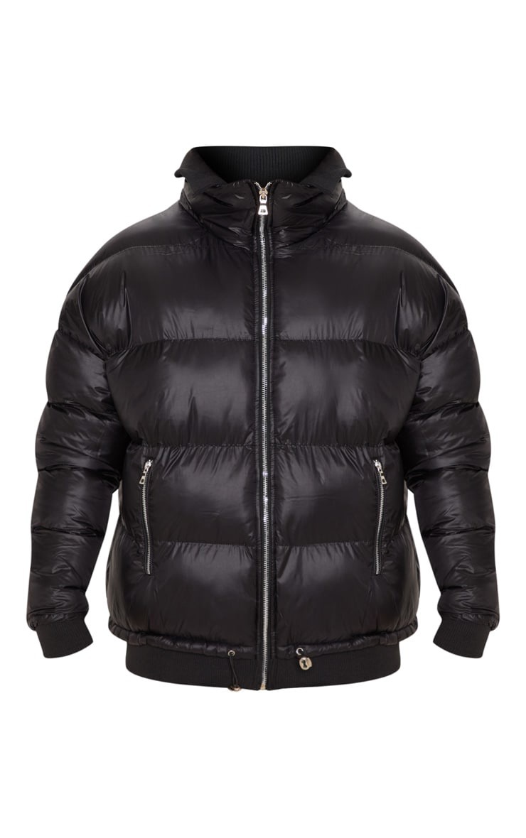 Black Oversized Puffer Jacket with Zip Pockets 3
