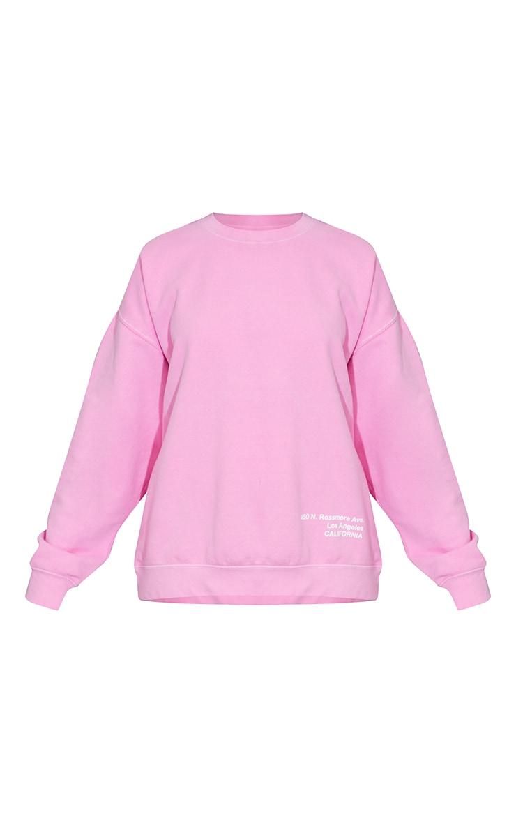 Pink Los Angeles Small Print Slogan Washed Sweatshirt 5