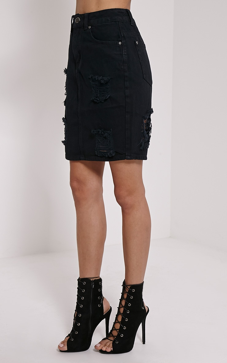 Poppa Black Ripped Denim Skirt 3