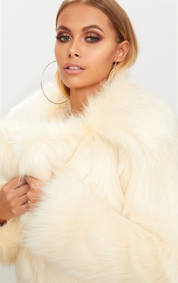 Cream Faux Fur Jacket 5