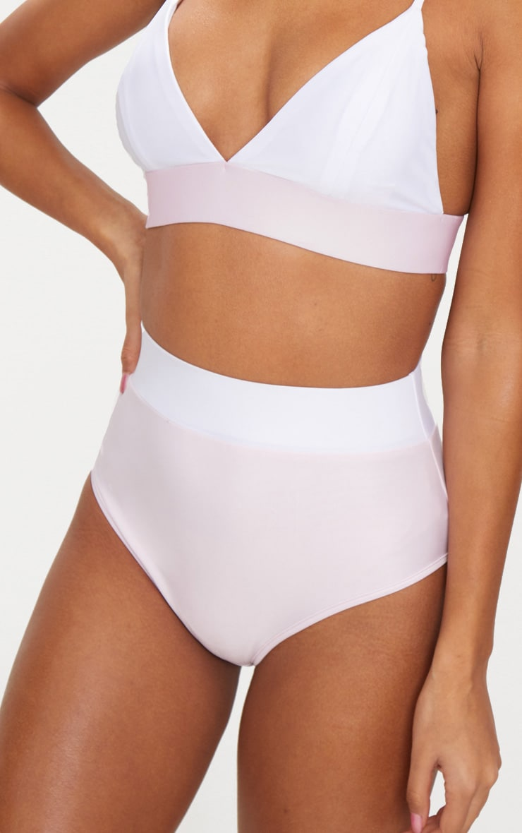 Lilac & White Contrast Beach Co-ord Bikini Bottom 1