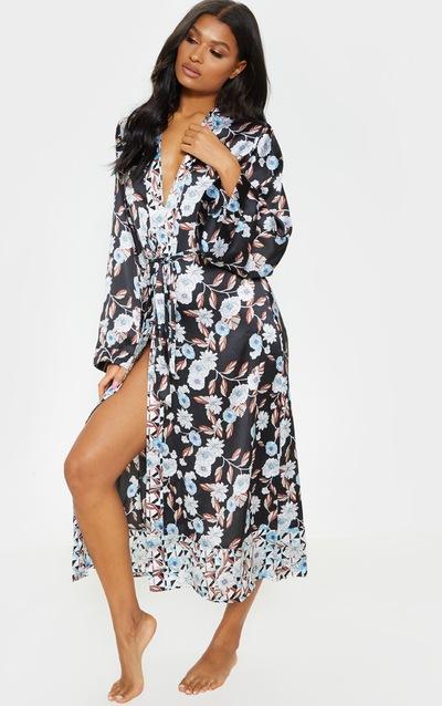 Black Geo Floral Satin Robe 9c9331180