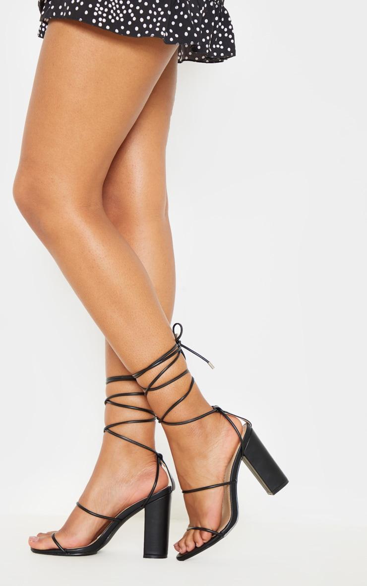 Black Delicate Strap Block Heel Ankle Tie Sandal 2