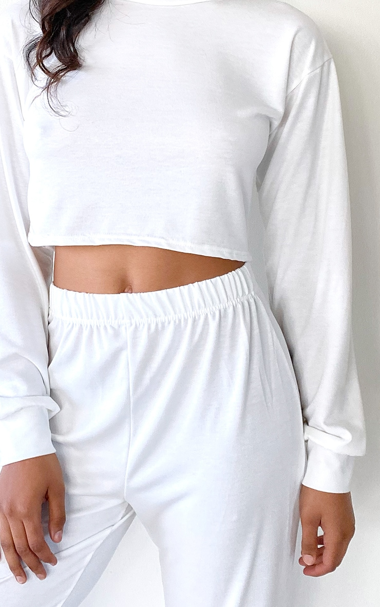 Tall White Cropped Sweat and Jogger Set 4