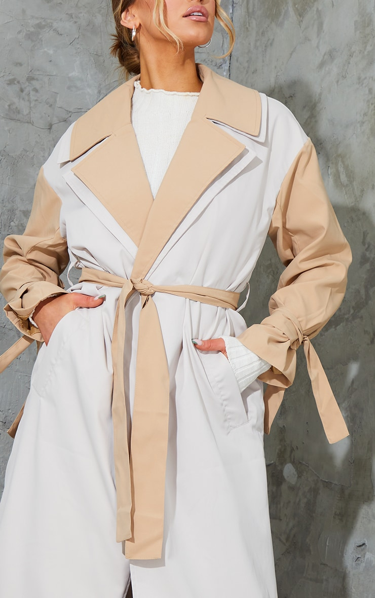 Stone Double Layer Lapel Midi Belted Trench 4