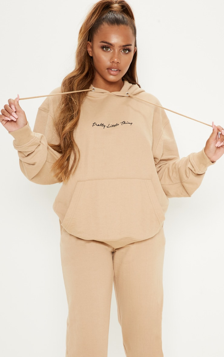 PRETTYLITTLETHING Sand Embroidered Oversized Hoodie