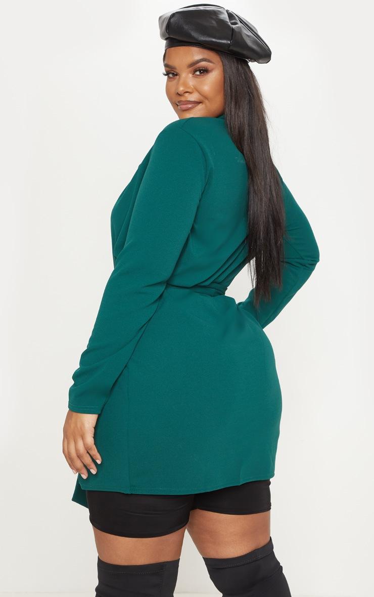 Plus Emerald Green Pocket Detail Tie Waist Blazer 2