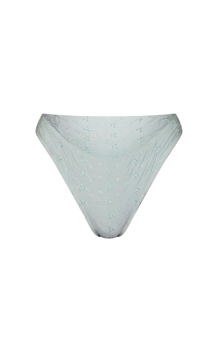 Sage Green Broderie Mini Bikini Bottoms 5