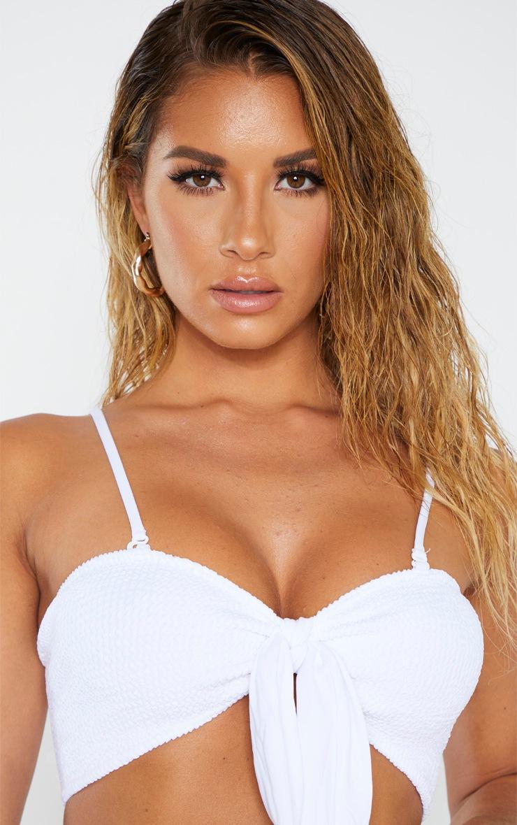 White Crinkle Bow Bikini Top 5