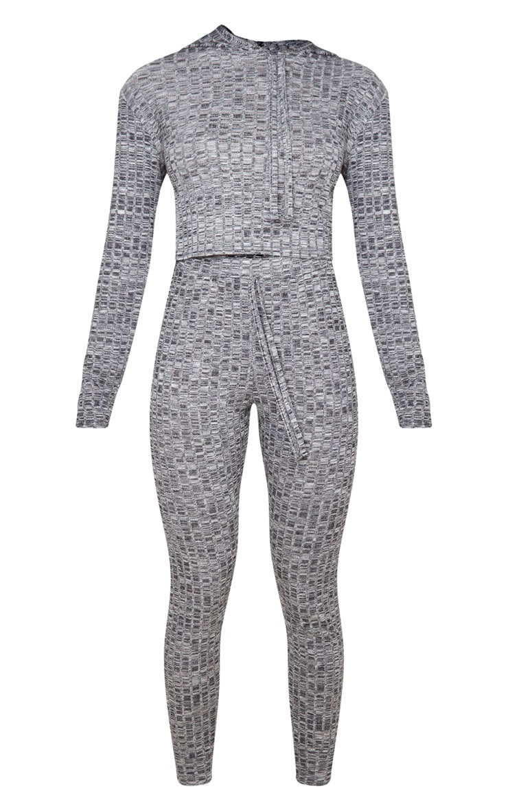 Grey Hooded Knitted Joggers Set 5