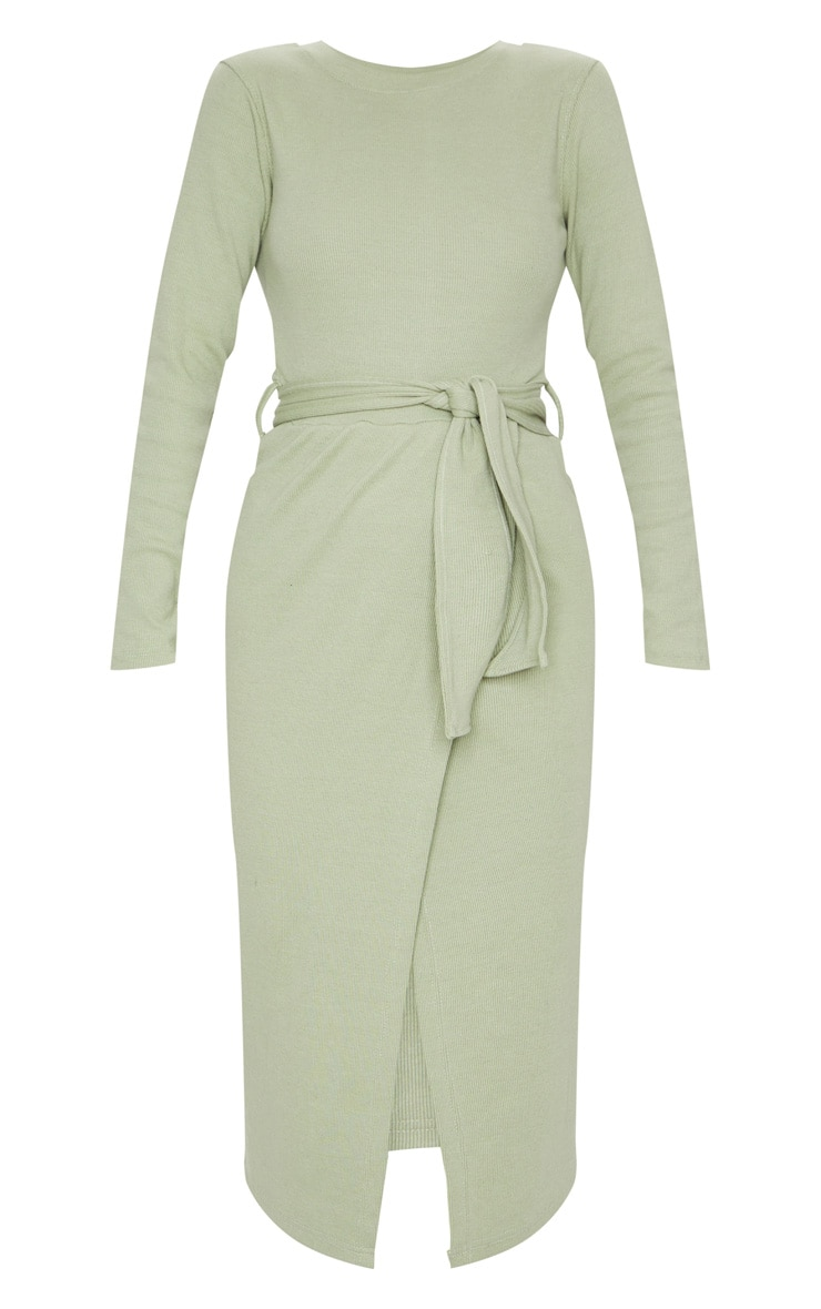 Sage Green Heavy Rib Tie Waist Wrap Midi Dress 5
