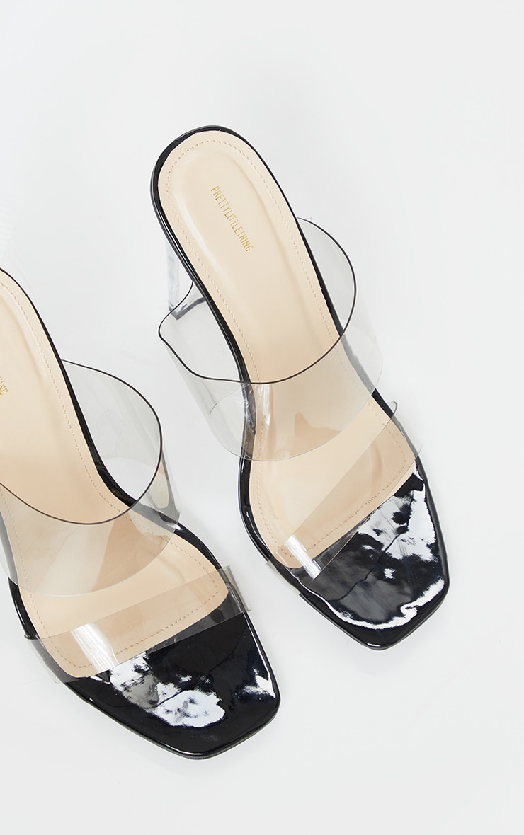 Black Wide Fit Tinted Clear Twin Strap Mule Heels 3