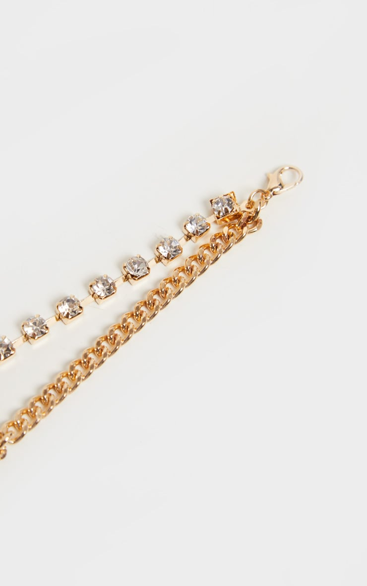 Gold Diamante Chain Anklet 4