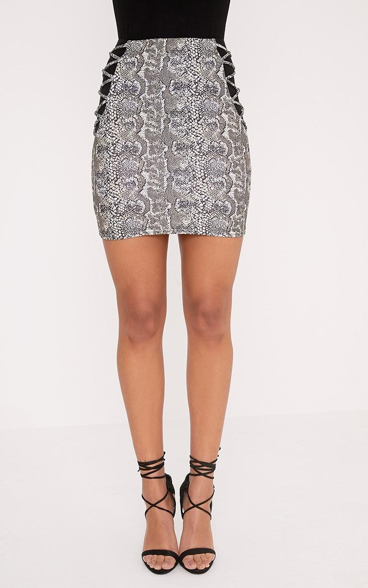 Felisa Stone Snake Print Mesh Insert Mini Skirt 2