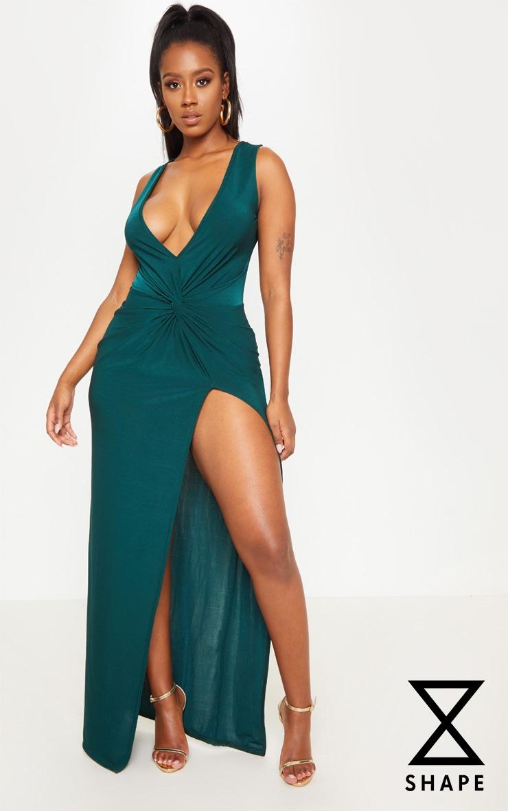 Shape Emerald Green Slinky Wrap Detail Maxi Dress 1