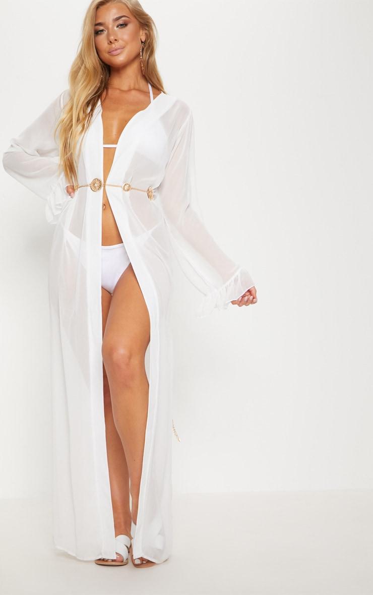 Alassia White Frill Sleeve Kimono