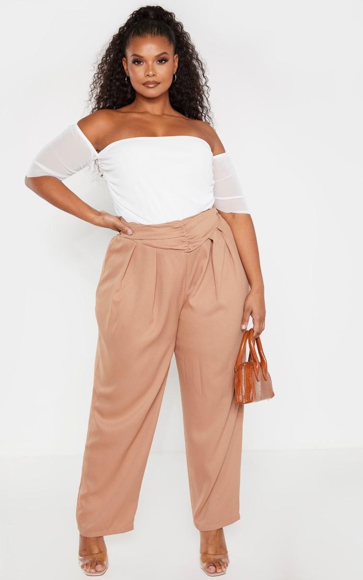 Plus Cream Mesh Ruched Bardot Bodysuit 4