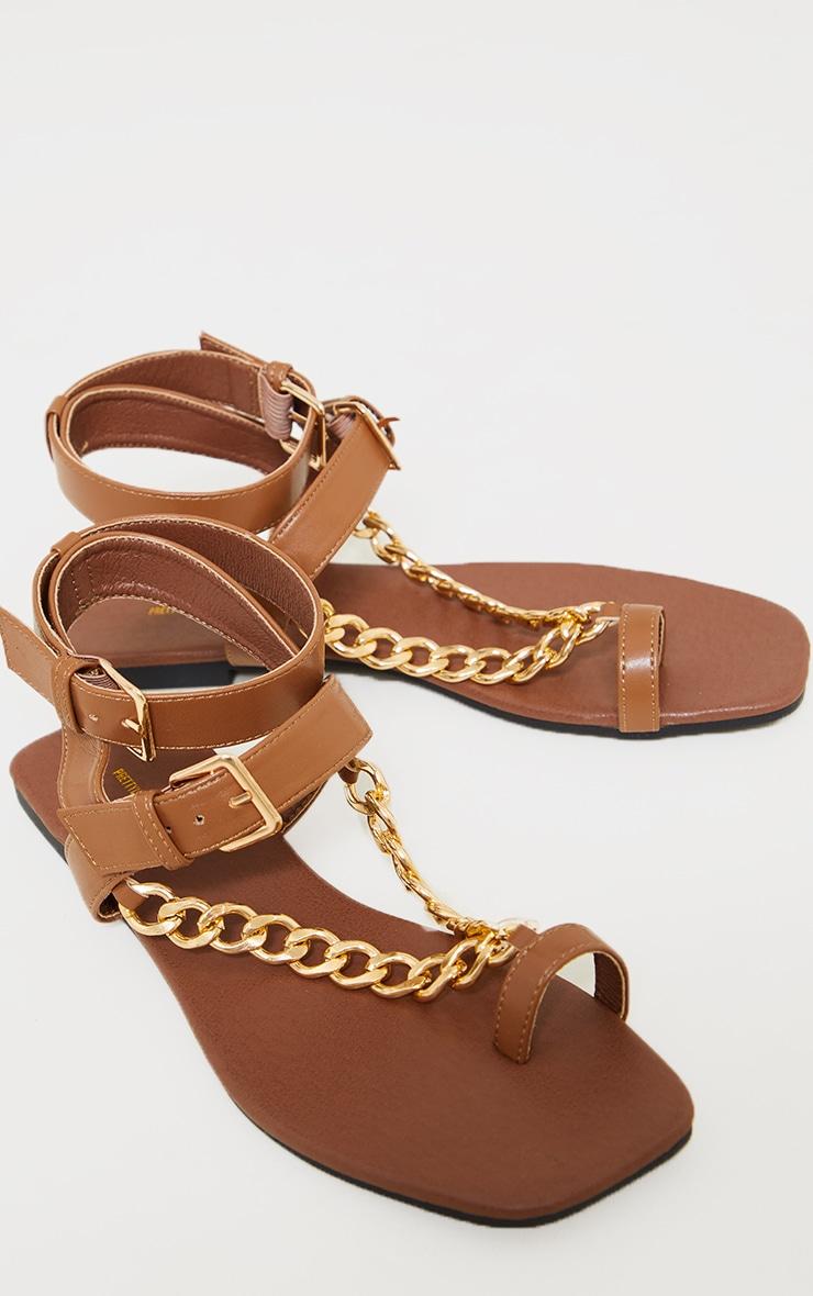 Tan Toe Loop Chunky Chain Square Toe Sandals 3