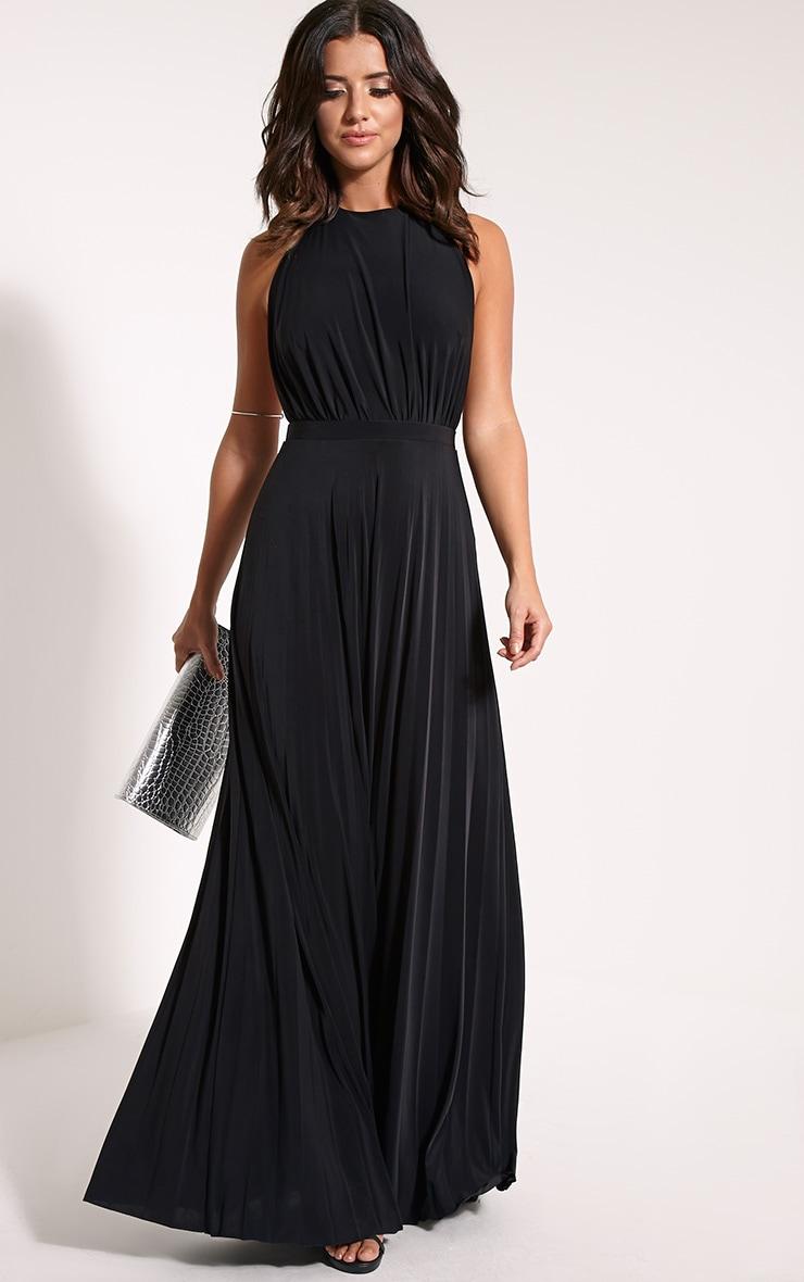 Lorelei Black Halterneck Pleated Maxi Dress 4