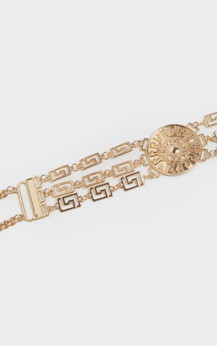 Gold Greek Key And Sun Dial Chain Belt 3