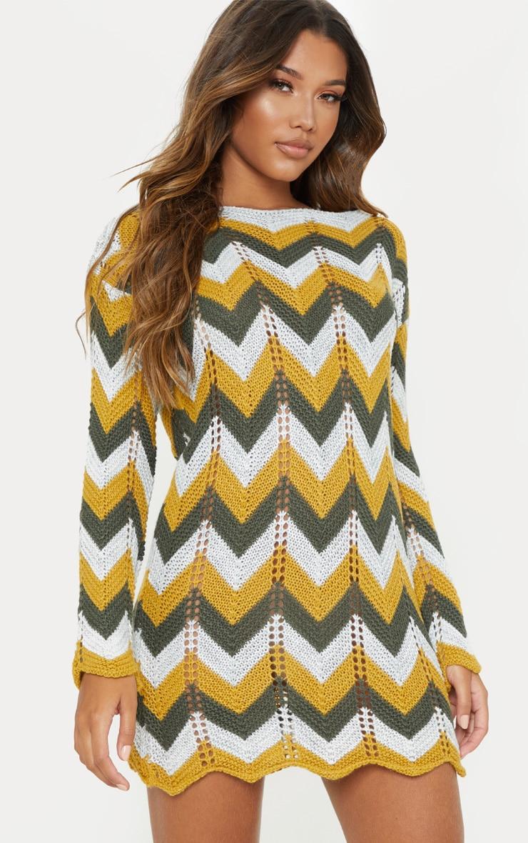 Multi Crochet Long Sleeve Jumper Dress 1