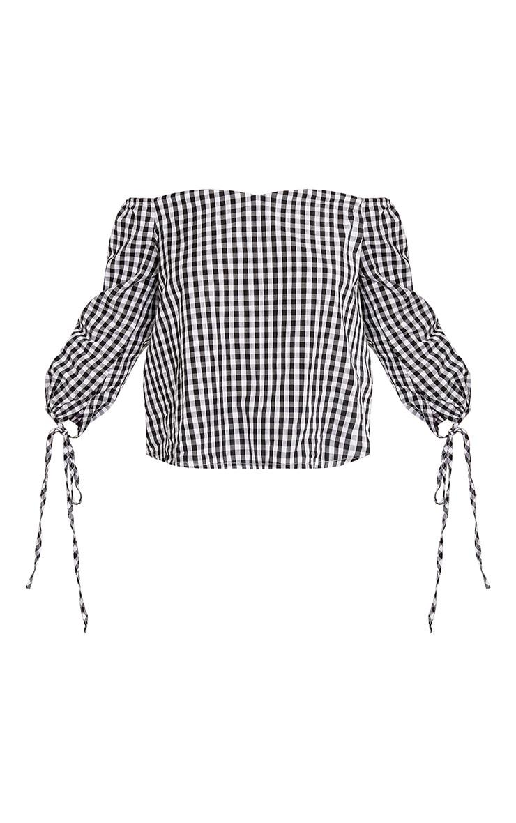 Connie Black Gingham Check Bardot Shirt 3