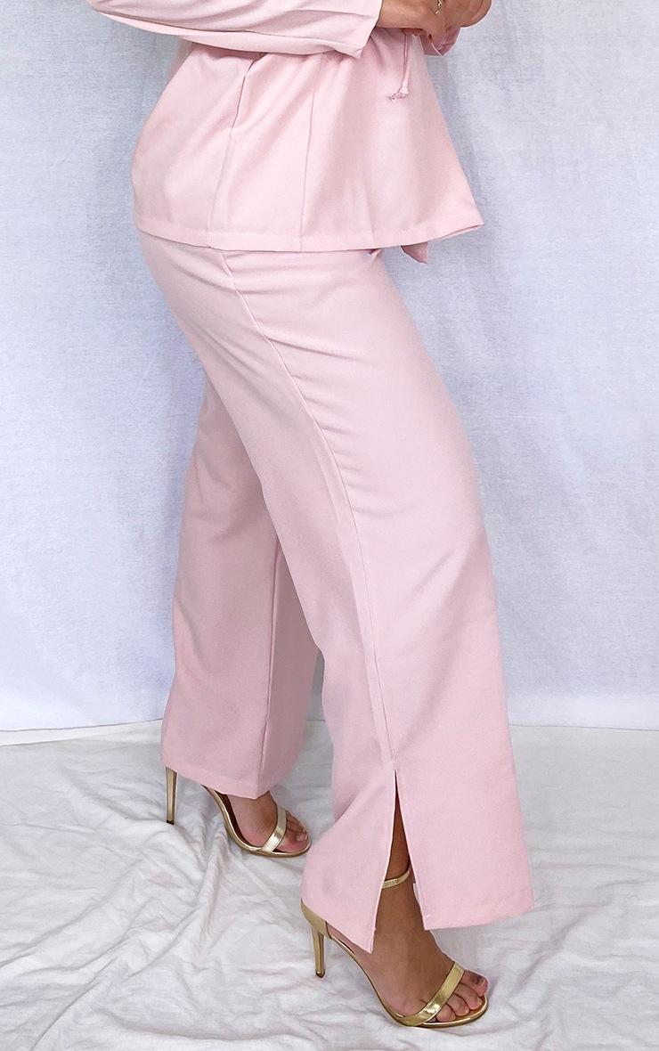 PLT Plus - Pantalon en maille rose cendré à jambes évasées et ourlets fendus 3