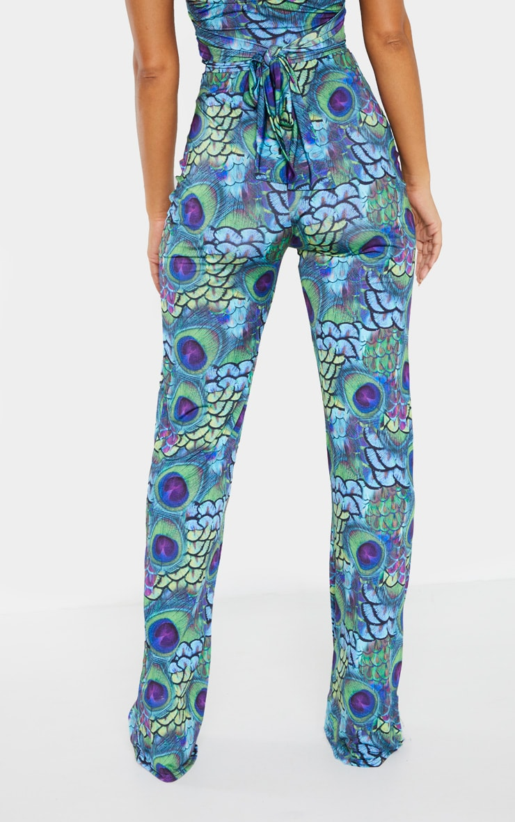 Multi Peacock Print Wide Leg Pants 5