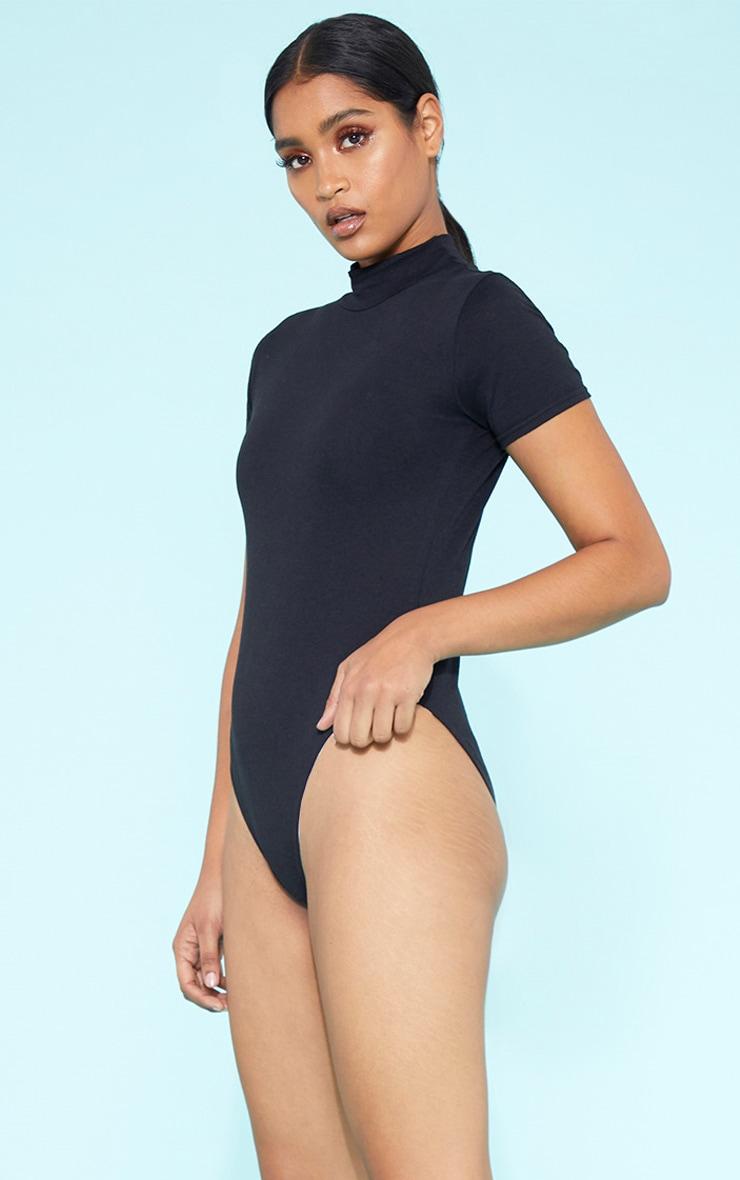 f84861d0f8c7 RECYCLED Roll Neck Short Sleeve Bodysuit Black image 1