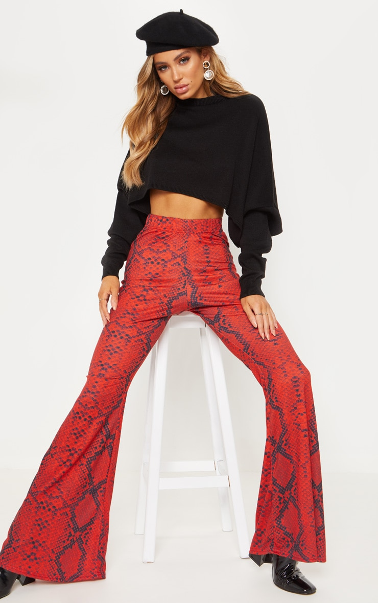 Red Jersey Snakeskin Flared Trouser 1