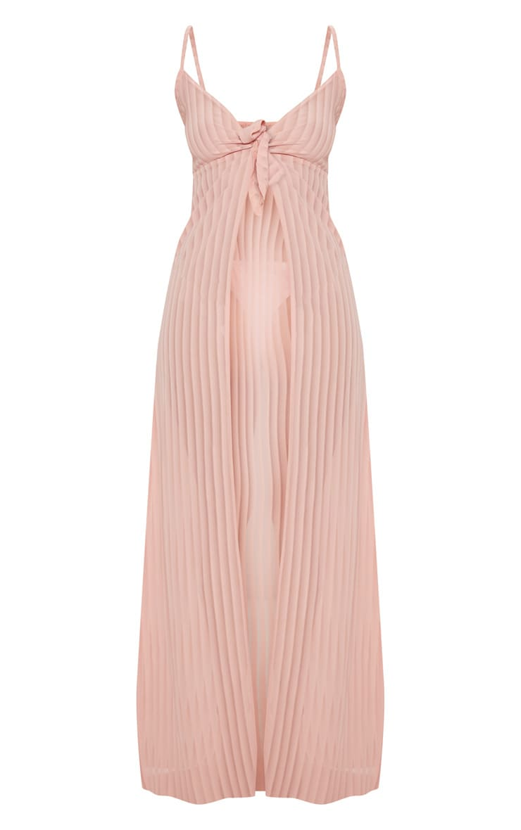 Pink Stripe Chiffon Tie Front Beach Dress 3