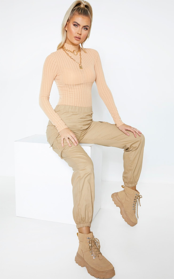 Tall Camel Rib Knitted Long Sleeve Bodysuit  3