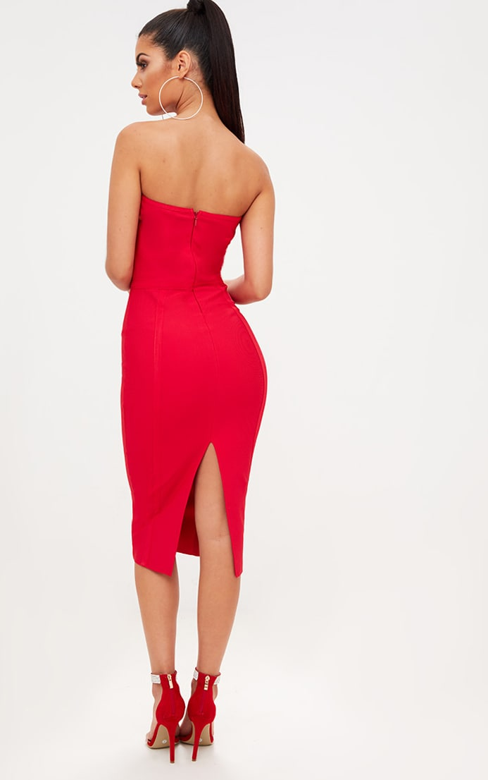 Red Bandage Lattice Detail Bandeau Midi Dress 2