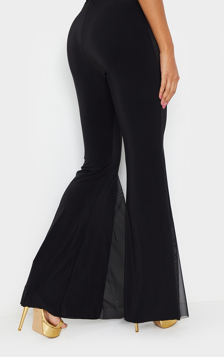 Black Slinky Sheer Panel Flared Trousers 3