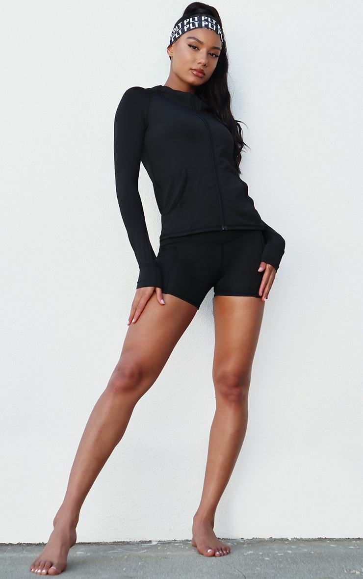 Black Zip Through Hooded Gym Top 3