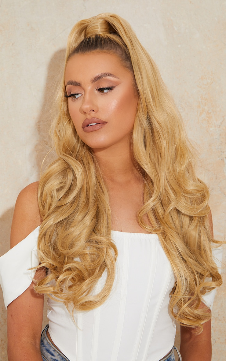 Lullabellz Ultimate Half Up Half Down 22 Curly Extension and Pony Set Golden Blonde 1