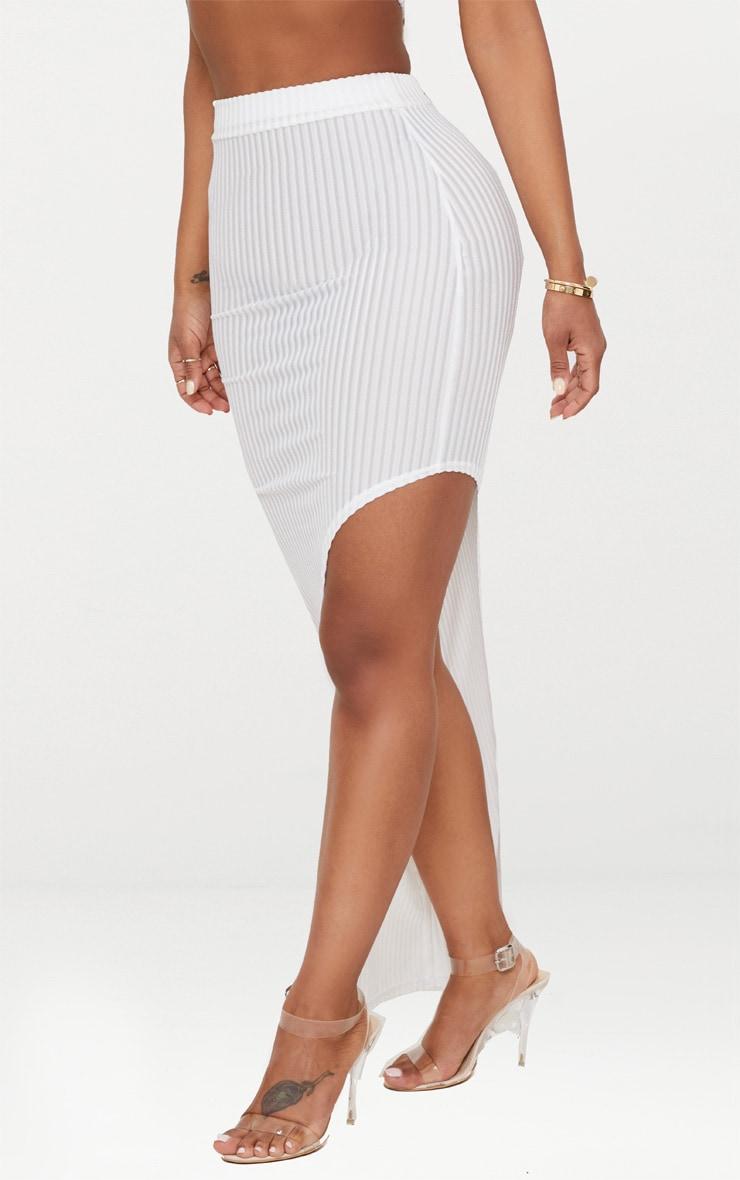 Shape White Striped Velvet Asymmetric Midi Skirt 2