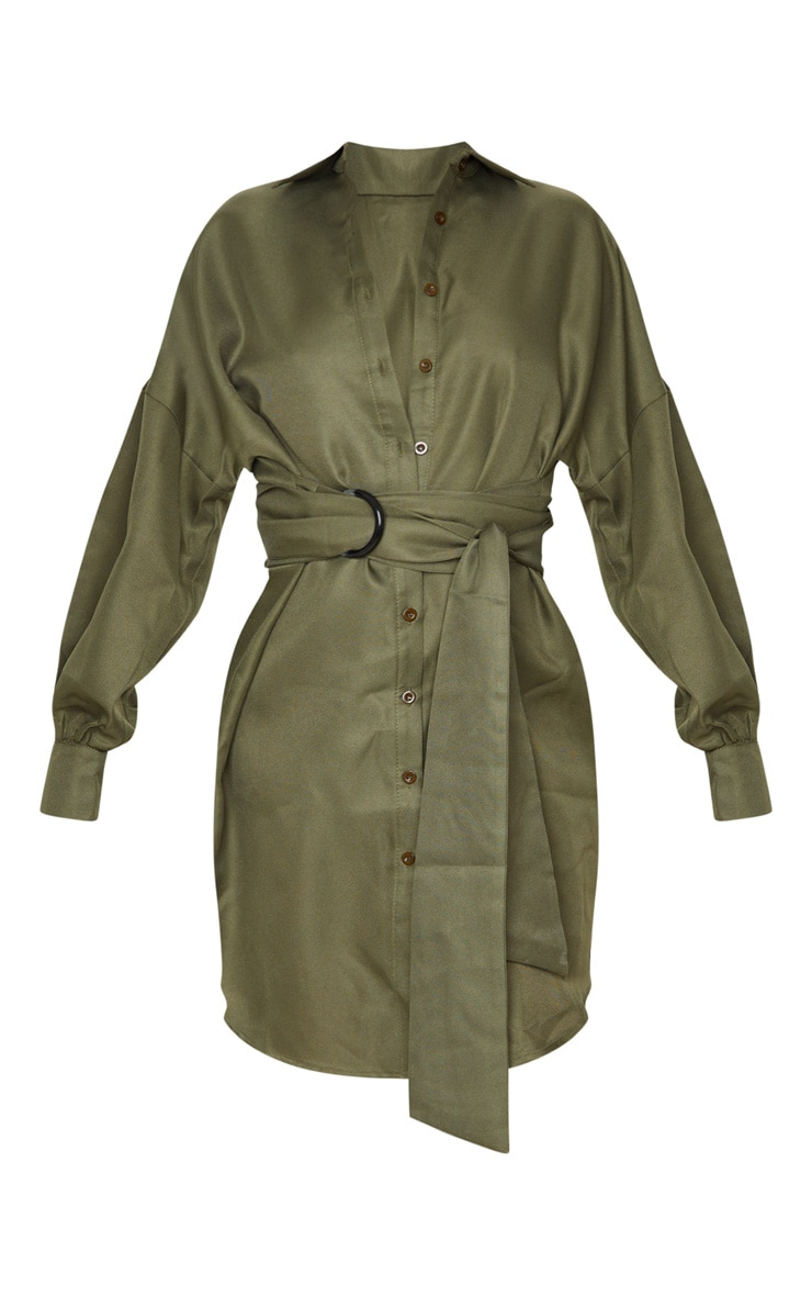 Tall Khaki Belted Tie Shirt Dress 3