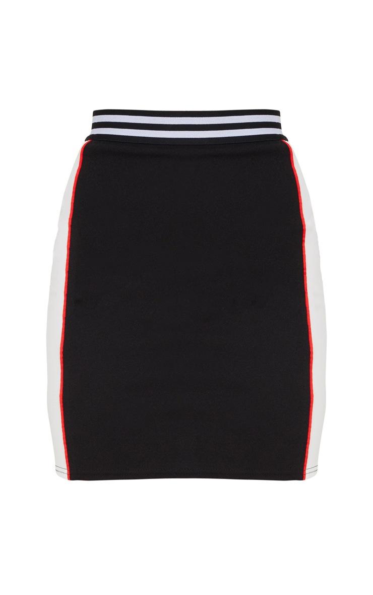 Black Motocross Contrast Panel Mini Skirt 3