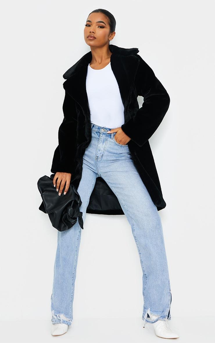 Black Soft Faux Fur Belted Midi Coat 3