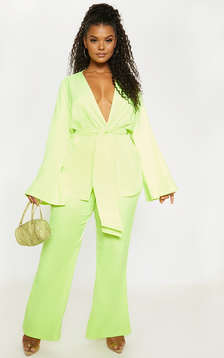 Plus Neon Lime Woven Belt Detail Blazer 1