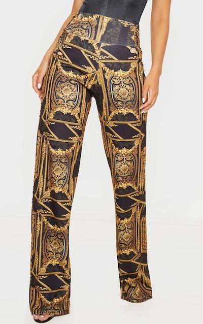 Chain Print Button Front Wide Leg Trouser