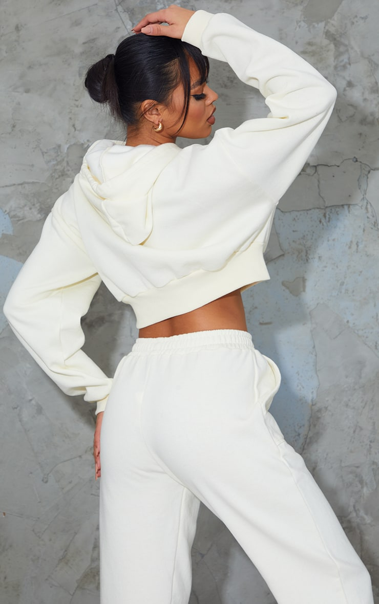 Cream Pocket Front Cropped Hoodie 2