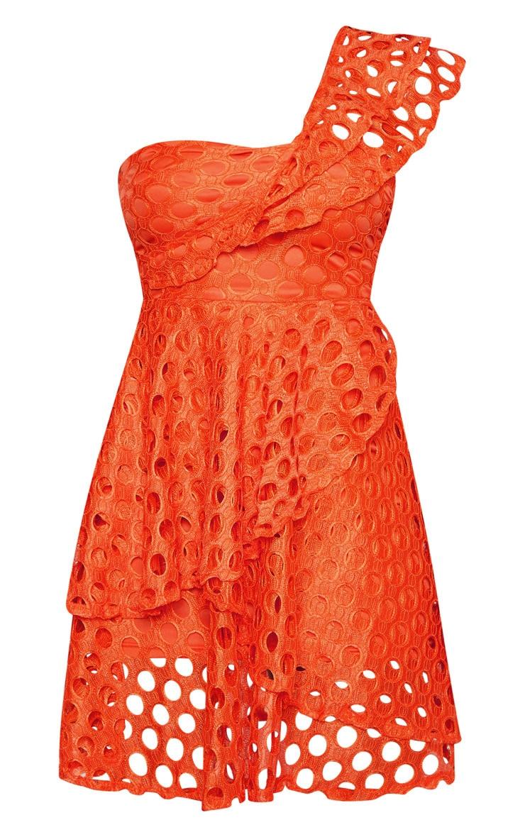 Petite Orange Lace One Shoulder Tiered Skater Dress 3
