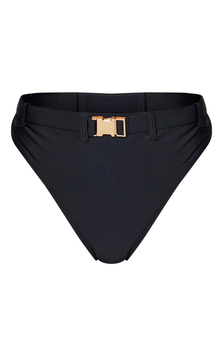Black Buckle High Waisted Bikini Bottoms 1