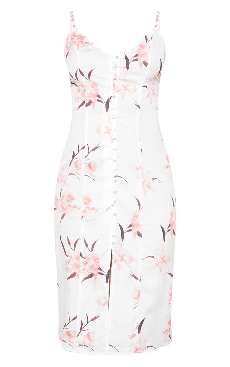 White Floral Print Button Through Midi Dress 3