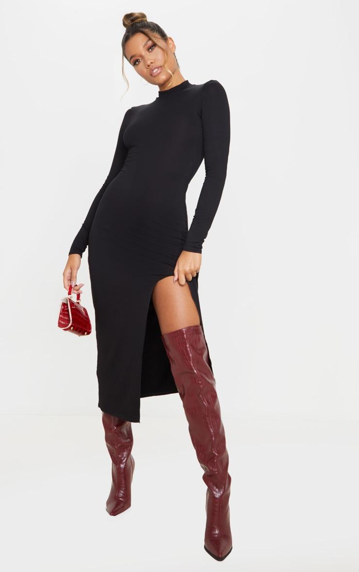 Black Long Sleeve High Neck Split Front Midi Dress 1