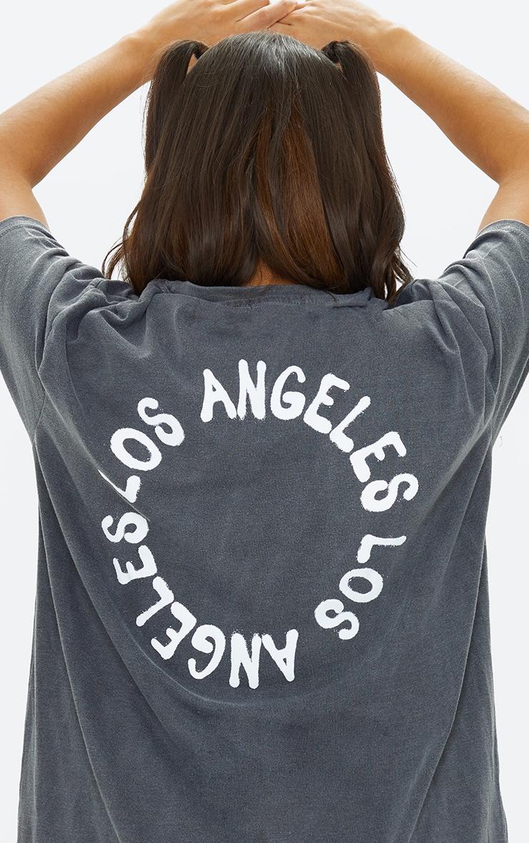 Robe tee-shirt oversize imprimé L.A. noir délavé 4