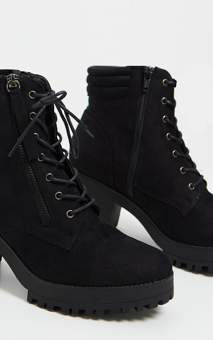 Black Lace Up Side Zip Chunky Boot 4