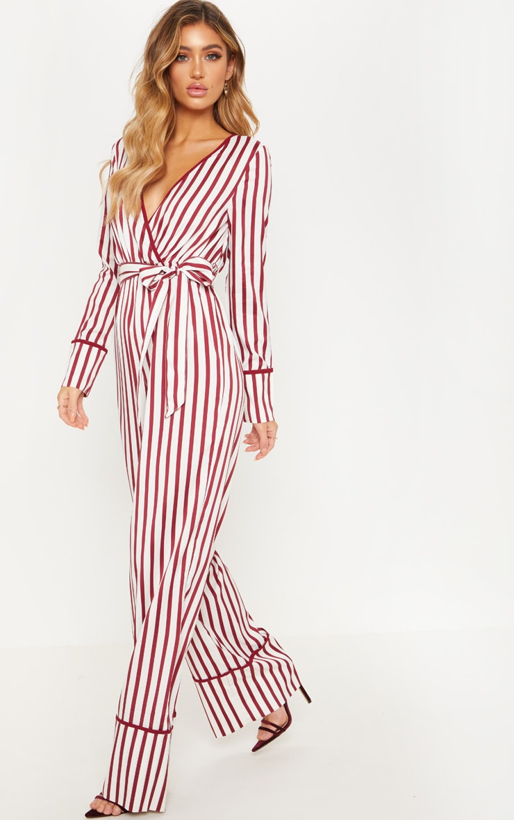 White Multi Stripe Plunge Satin Piped Wide Leg Jumpsuit 4